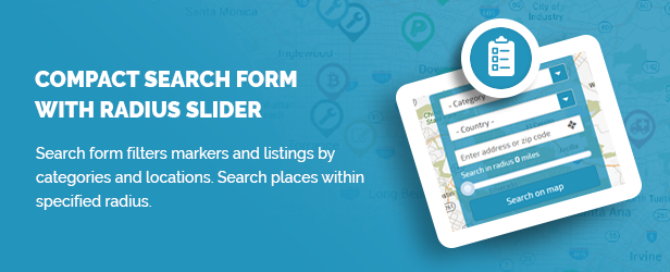 Compact search form with radius slider